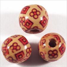Lot de 20 Perles rondes en Bois 12mm Motif Fleurs
