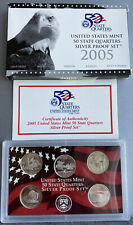 2005 S United States Silver State Quarter Proof Coin Set MN CA OR KS WV Box COA