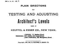 "1903 Keuffel & Esser ""Plain Directions for Adjusting Levels"" Reprint"