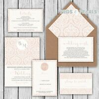 Personalised Luxury Rustic Wedding Invitations blush damask lace Packs of 10