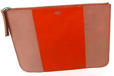 Fossil Sydney Top Zip Leather Pouch Slim Clutch in Orange and Pink Colorblock