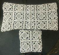 VINTAGE Handmade Cream Crochet Lace Table Mat & Coaster
