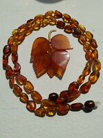 """Vintage USSR amber brooch 1960 s & 24""""necklace amber with lock unknown origin."""
