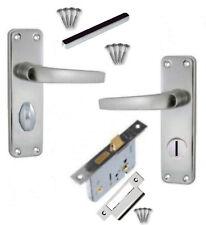 "Aluminium Bathroom Door Handle SET +2½"" 64mm Lock SAA WC/Toilet /Locking Levers"