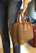 Vintage GUCCI Micro GG Tan Monogram Tote Doctor Boston Hand Bag W/ Dust Bag
