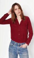 New Arrived Women's Burgundy Equipment Slim Signature Silk Shirts Tops Blouse