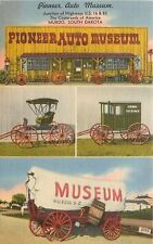 Murdo SD~Pioneer Auto Museum~US Mail Buggy~1940s Linen Postcard