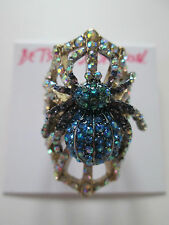 NWT Auth Betsey Johnson Spider Lux Blue Pave Rhinestone Spider Widow Web Ring
