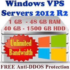 RDP Server /VIRTUAL Server Windows 2012 R2 VPS 1GB-4GB RAM, 40GB-1500GB HDD