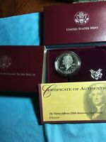 1993 S THOMAS JEFFERSON 250th ANNIVERSARY SILVER PROOF $ COMMEMORATIVE w/COA