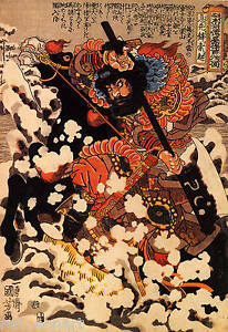 Kyusenpo Sacucho charging throught the snow on a black stallion Canvas Print