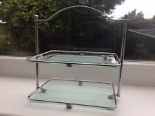 1930s Style 2 Tier Clear Glass Vintage Cake Stand
