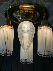 BEAUTIFUL FLAPPER ERA ART DECO GLASS STRAW PRISM w ACID ETCHED SHADE CHANDELIER