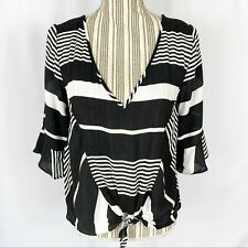 Free People Contrast Striped Bell Sleeve Cropped Tie Front Boho Top Women Medium
