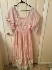 costume ,Custom VintagePINK taffeta&white Lace w/roses,renaissance,1800s,SZ sm