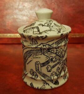 Ancien pot à moutarde - Moutardier en porcelaine d'Auteuil