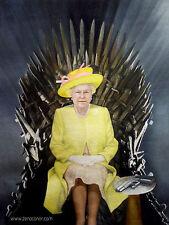 "Superbe original Zen O'CONOR ""hm queen elizabeth ii"" trône de fer série peinture"