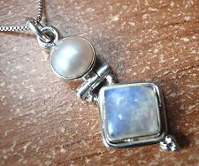 Cultured Pearl and Moonstone 925 Sterling Silver Pendant Corona Sun Jewelry
