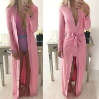 """Beatrice"" Pink Satin Trim Long Sleeve Duster Coat Jacket Sizes 6-14 Boutique"