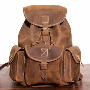 Vintage Mens Genuine Cow Leather Backpack Travel Shoulder Bag Handbag Satchel