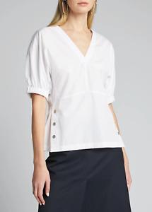 NEW NWT 3.1 Phillip lim Short-Sleeve Poplin Top w/ Side Studs Solid White SZ 6