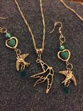 sterling silver chain tibetan silver swallow pendant bluish beads bird earring