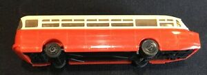 """Vintage HO Scale Ikarus 66 Bus Red & White Plastic 5 and 1/8"""" Train Layout"""