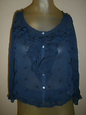 Womens Abercrombie & Fitch M Medium Top Blouse Shirt Ruffle Navy Blue 3/4 Sleeve