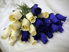 100 CREAM & NAVY BLUE WOODEN ROSES WHOLESALE JOBLOT GIFT MODERN WEDDING FLOWERS
