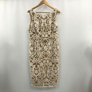 Adrianna Papell Applique Shift Dress UK 16 Gold Ivory Formal Occasion 161805