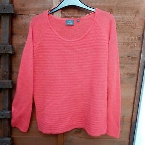 Beautiful Coral Orange SHE Cashmere Jumper UK 14