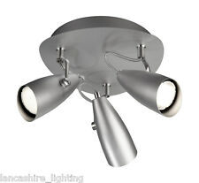 55843/87/10 3 Light Low Energy Spot Light in Grey with FREE Low Energy Bulbs!
