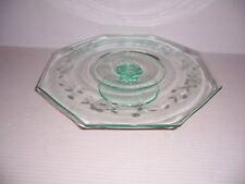 """Octagonal 11"""" Glass Cake Stand Pedestal Blue Green Tint"""