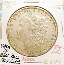 1888-O MORGAN SILVER DOLLAR, CHOICE AU+, VAM 4 DBL DIE HOT LIPS TOP100 RARE B649