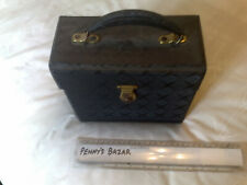 "VINTAGE 1970'S RECORD CARRYING CASE FOR 7"" SINGLES PATTERNED BLACK PLASTIC OUTER"