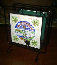 """Ceramica/Portatovaglioli/Ferro/Souvenir""""THE SKYLON NIAGARA FALLS CANADA""""Anni 70"""