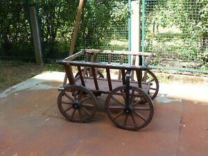 großer Handwagen aus Holz, Pflanzbehälter, Gartendeko, Bierkutsche, Ladendeko