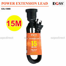 DOSS EXL15MB 15M POWER EXTENSION LEAD BLACK PVC Ordinary Duty Cable 10Amp 2400W