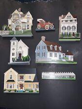 5 Piece Lot Sheila'S collectibles houses plus A Fence And Antique Car! 1996-1999
