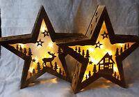 Rustic Star LED Christmas Lights Reindeer Alpine Scene Light Silhouette Vintage