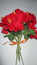 """13"""" x 9"""" BUNCH Red Orange AUTUMN FALL Colors 8 Faux Blossoms Bendable Wire Decor"""