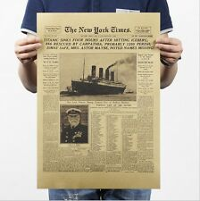 Poster Vintage Artwork Wall Decor New York Times Titanic newspaper 14x20 Inch