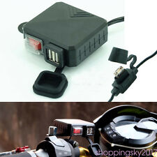 12V 2.1A Waterproof DC  Motorcycle Phone GPS Dual USB Charger Adapter w/ Switch