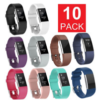 10 Pcs Replacement Silicone Wristband For Fitbit Charge 2 Band Fitness Size-L US