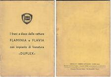 VECCHIO LIBRETTO USO E MANUTENZIONE FRENI DUPLEX  LANCIA FLAMINIA E FLAVIA 1963