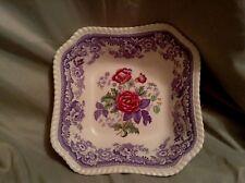 RARE COPELAND SPODE Mayflower Lavendar Floral SquareServing Bowl  #2/8772 GREAT