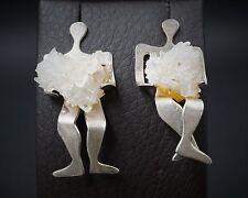 Hand Signed Iriniri Sterling Silver Calcite Sitting People Earrings ES1015