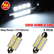"2x 1.72"" 42mm 8-SMD Festoon Super White LED For Map Dome Lights Bulbs 211-2 578"