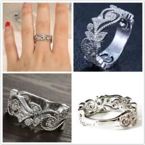 Women's Fashion Faux Diamond Ring Flower White Ring Wedding Jewelry Gift YO