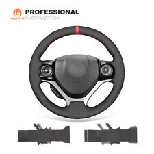Hand Stitch Black Synthetic Suede Car Steering Wheel Cover for Honda Civic 9